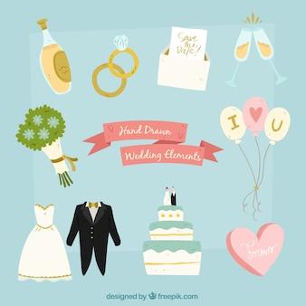 Des éléments de mariage mignons avec un design plat