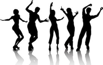 Des silhouettes de personnes qui dansent