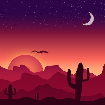 Desert sunset background