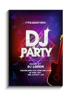 Design abstrait coloré décoré, modèle de fête de danse de nuit, prospectus de fête de DJ, fête de nuit ou présentation d'invitation de club avec des détails.