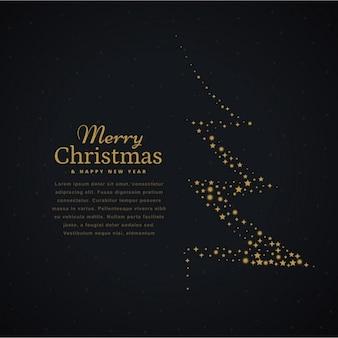 Design créatif arbre de Noël fait avec des étoiles en arrière-plan noir