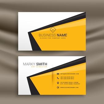 Design créatif de carte de visite avec jaune couleurs noir et blanc plat