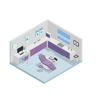 Design d'intérieur de la clinique dentaire isométrique