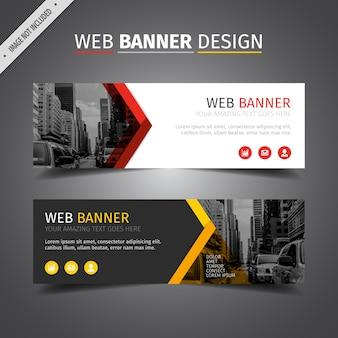 Design de bannière Web rouge et jaune