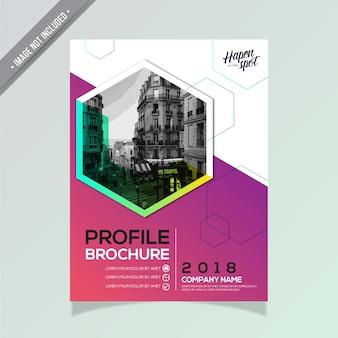 Design de brochure commerciale pourpre et blanc