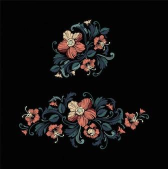 Design de broderie dans le style baroque. Vecteur