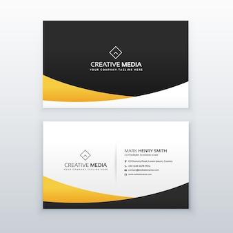 Design de carte de visite jaune et noir dans un style minimal propre
