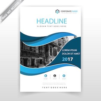 Design de couverture de prospectus bleus