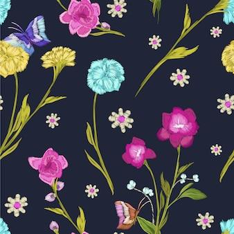 Design de fleurs avec fond noir