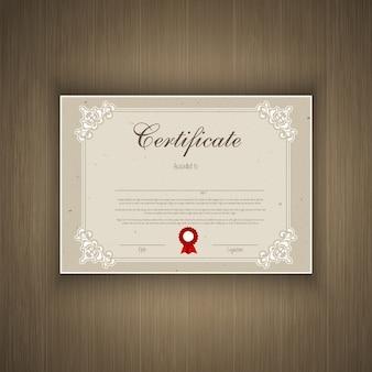 Design décoratif de certificat sur un fond texture bois