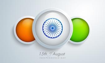 Design du drapeau indien avec des cercles pour le Jour de l'Indépendance.