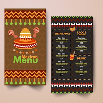 Design du menu du restaurant mexicain