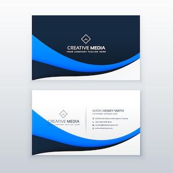 Design élégant de carte de visite de vague bleue