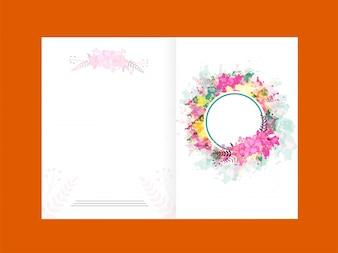 Design élégant de cartes de voeux avec décorations colorées et décoration de fleurs.