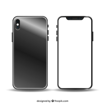 Design moderne de smartphone avec écran blanc