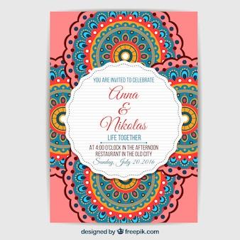 Design multicolore de mandala d'invitation de mariage