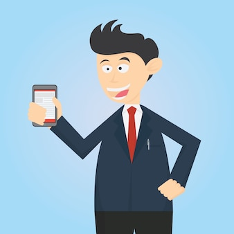Dessin animé dessin animé de personnage d'homme-d'œuvre avec smartphone