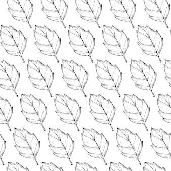 Dessin dessiné motifs de feuilles
