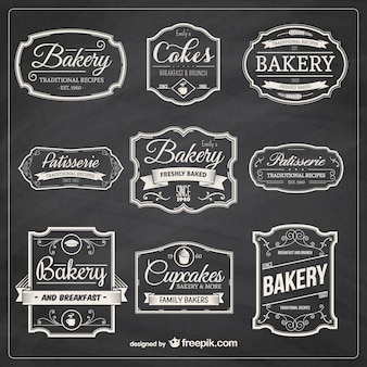 Dessinés à la main badges de boulangerie