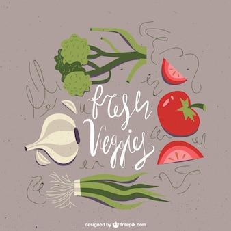 Dessinés à la main des légumes frais