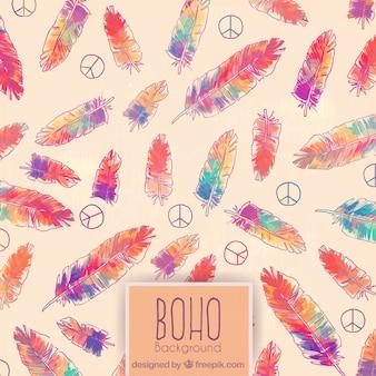 Dessinés à la main des plumes colorées et symbole hippie fond