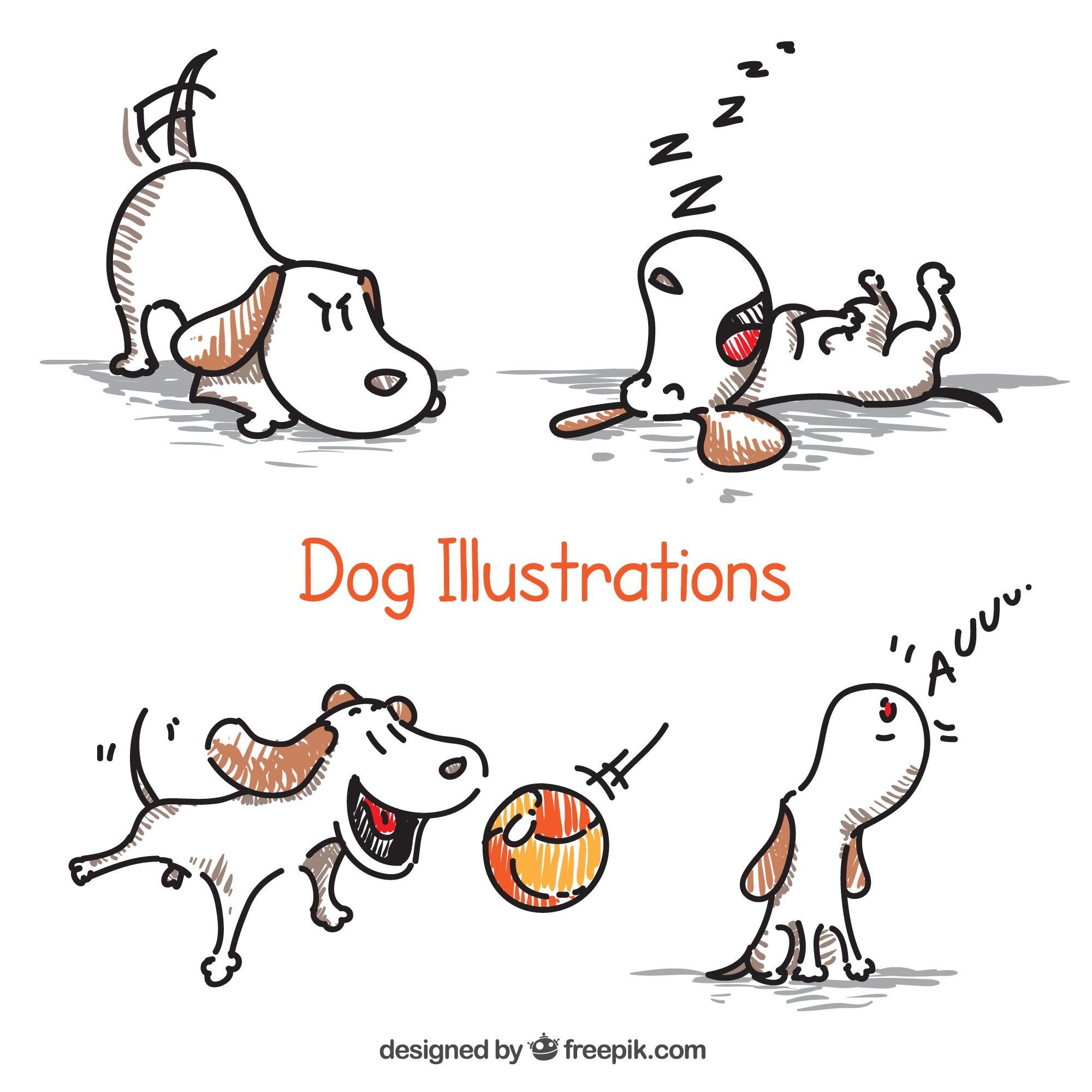 Dessinés à la main illustrations de chiens