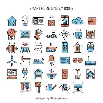 Dessinés à la main système de maison intelligente icônes