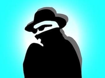 Détective criminel masqué portrait vecteur