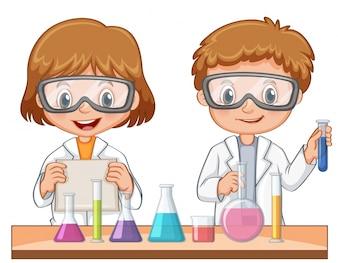 Deux étudiants font une expérience scientifique