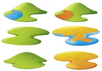 Différentes formes de montagnes et de plages