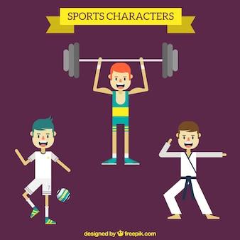Différents personnages de sport agréable