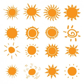 Différents types d'icônes de soleil