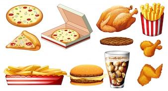 Différents types d'illustration fastfood et de boissons