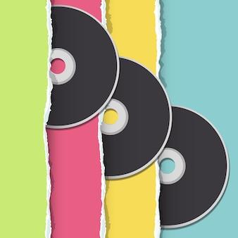 Disque de musique sur fond multicolore
