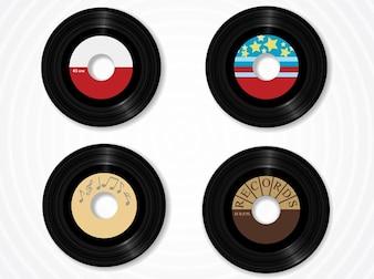 Disque vinyle écoute audio vecteurs