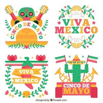 Divers autocollants de fête du Mexique dans un design plat