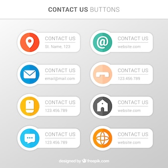 Divers boutons de contact en design plat