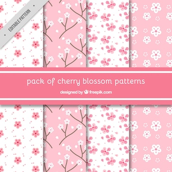 Divers motifs décoratifs de fleurs de cerisier