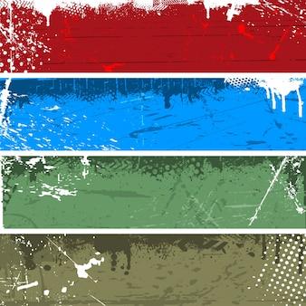 Divers panneaux grunge en quatre couleurs différentes