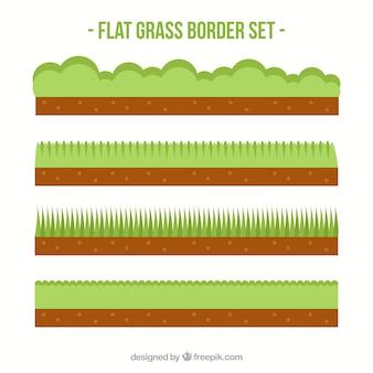 Diverses frontières d'herbe dans la conception plate