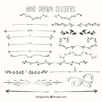 Diviseurs dessinés à la main emballent