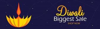 Diwali la plus grande vente de la bannière Web avec lampe à papier sur le fond violet.