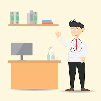 Docteur au bureau dessin animé illustration vectorielle