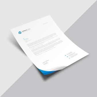 Document commercial blanc avec coin bleu