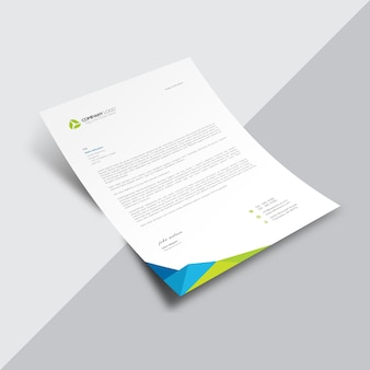 Document commercial blanc avec coin multicolore
