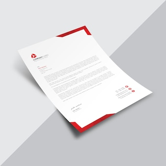 Document commercial blanc avec coins rouges