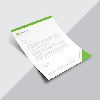 Document commercial blanc avec des détails verts et élégants
