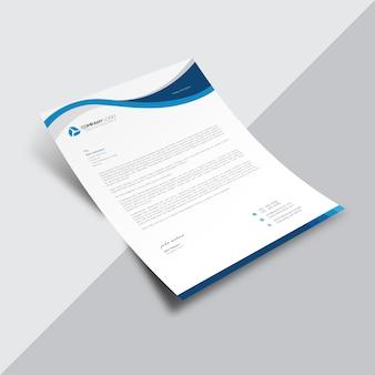 Document commercial blanc avec détails ondulés bleus