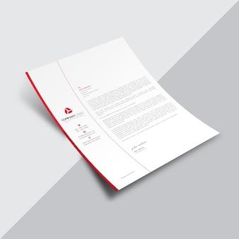 Document commercial blanc avec détails rouges