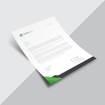 Document d'affaires blanc avec des détails en noir et vert